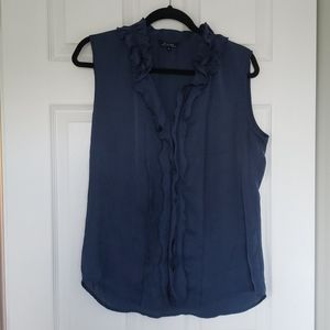 Blue silky ruffle front top